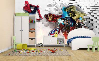 Wallpaper Custom Avenger Untuk Dinding Kamar Tidur Anak